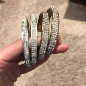 Lot of two sets of large crystal hoop earrings